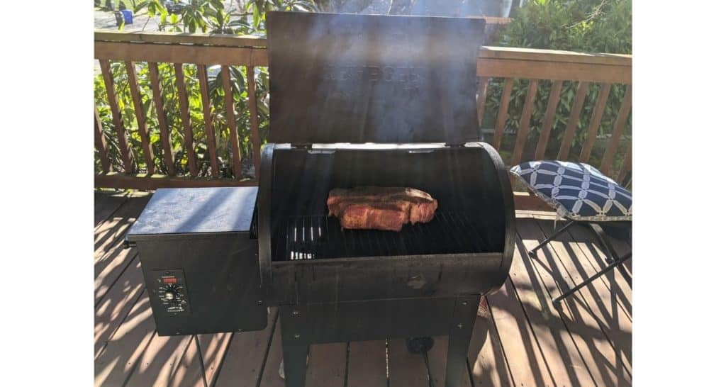 Smoking Chuck Roast In Traeger On Covered Porch